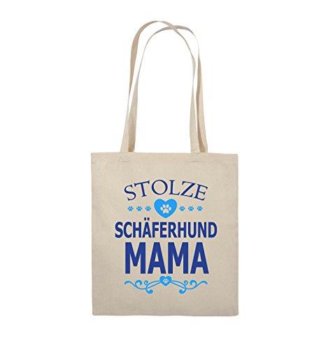 Comedy Bags - Stolze Schäferhund Mama - HERZ - Jutebeutel - lange Henkel - 38x42cm - Farbe: Schwarz / Weiss-Neongrün Natural / Royalblau-Hellblau