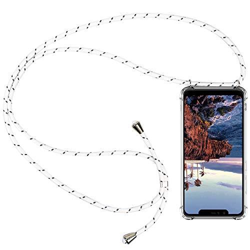 CLM-Tech Carcasa con Cuerda para Colgar Compatible con Xiaomi Mi A2 Lite/Redmi 6 Pro - Funda Silicona Transparente con Cordon para Llevar en el Cuello, Blanco Gris