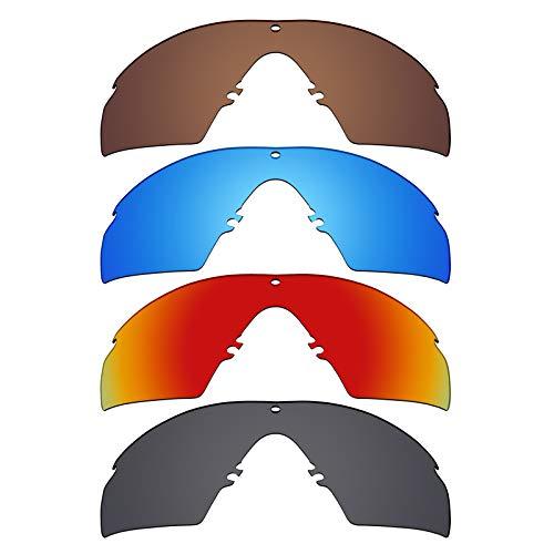 Mryok polarisierte Ersatzgläser für Oakley Industrial M Frame 3.0 Sonnenbrille - Stealth Black/Fire Red/Ice Blue/Bronze Braun, 4 Paar
