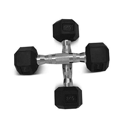 Sporteq manubri in gomma, esagonali, coppia di pesi da 3kg fino a 15kg, 2 x 3kg (pair)