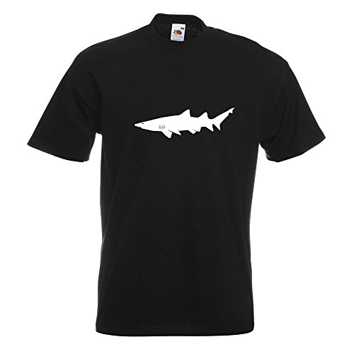 KIWISTAR - Hai Raubfisch Profil T-Shirt in 15 verschiedenen Farben - Herren Funshirt bedruckt Design Sprüche Spruch Motive Oberteil Baumwolle Print Größe S M L XL XXL Schwarz