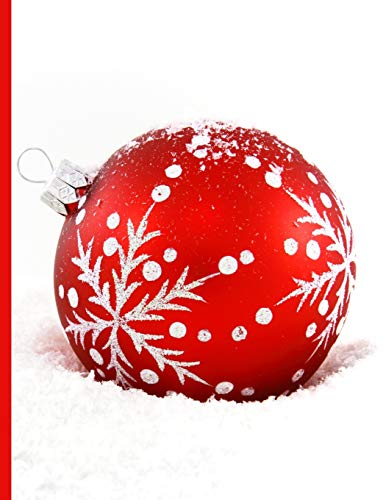 Shopping Notebook ~ Red Christmas Ornament Lying in a Bed of Snow
