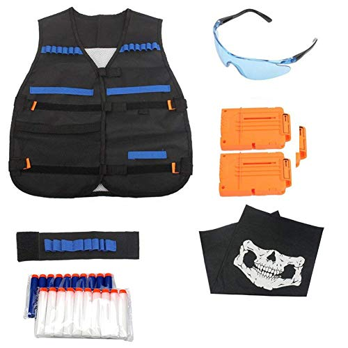 Kinder Taktische Weste Jacket Set Kit für Nerf Gun N-Strike Elite Serie, Tactical Weste Jacke Kit Für Nerf Zubehör Mit 20 Nachfüllpfeilen, 2 Stück 6-Dart Quick Reload Clips, Ammo Halter, ()