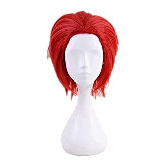 Ani·Lnc Short Red Afro Anime Cosplay Wig Synthetic Hair Halloween Party wig