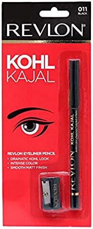 Revlon Kohl Kajal Eye Liner Pencil With Sharpener, Black, 1.14g