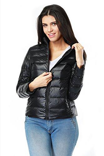 Giacca piumino donna sportivo giubbotto piumino invernale manica lunga comprimibile ultra leggero misura a scelta nero l
