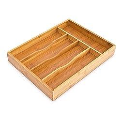 Relaxdays Besteckkasten HxBxT: ca. 4,5 x 25,5 x 34 cm Besteckbox aus Bambus Besteckeinteiler für die Schublade mit 5 Fächern als Besteckeinsatz und Schubladenorganizer Besteckeinlage aus Holz, natur