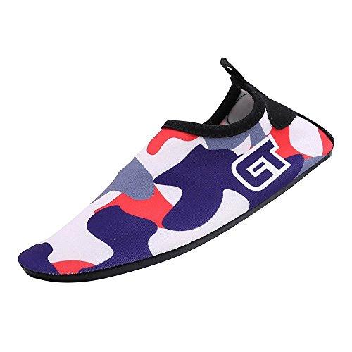 Unisex Aqua scarpe per sport acquatici, morbida ad asciugatura rapida antiscivolo adate per immersione snorkeling nuoto, yoga scarpe per uomo e donna, adulti e bambini Tarnfarbe-dunkelblau