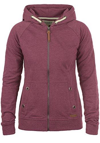 DESIRES Mandy Damen Sweatjacke Kapuzen-Jacke Zip-Hoodie aus hochwertiger Baumwollmischung, Größe:L, Farbe:Wine Red Melange (8985)