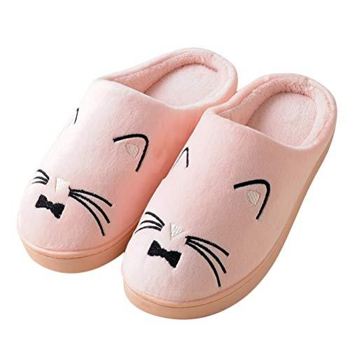 Minetom Unisex Winter Baumwolle Hausschuhe Damen Herren Wärm Bequem Plüsch Pantoffeln Haus rutschfeste Niedlich Karikatur Katze Kitty Slippers Flache Schuhe D Rosa 35/36 EU -