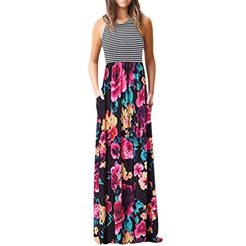 Sexy Designer Kleider (MORETIME Sommerkleid Damen Kleider Elegant Lang Tank Top Designer One Shoulder TräGerkleid WunderschöNe Gelbes Asymmetrisches Wadenlang Wickelkleider RüCkenfreie Langes)