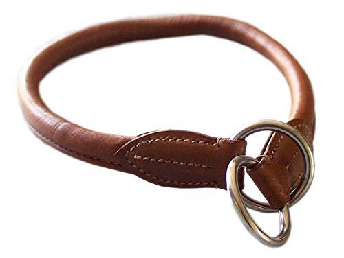 SwissDog24 Hundehalsband Dressurhalsband Dressurhalsung Würger weiches Echtleder rund (40cm, braun) -