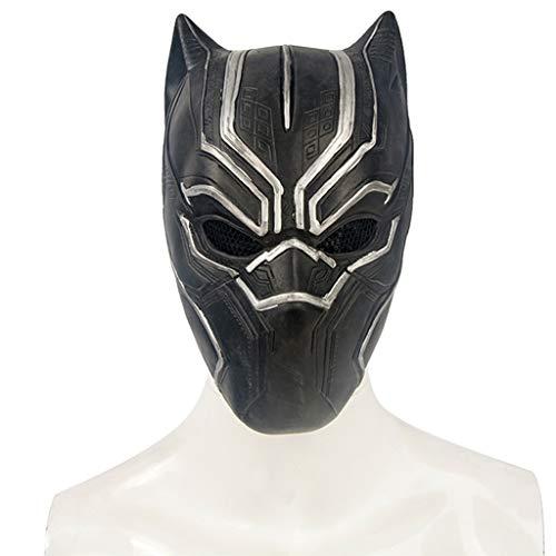 Halloween-Weihnachtsmaske Captain America Cosplay Zubehör Schwarze Leopard-Latex-Maske Leicht zu erschrecken Gruselige Erwachsenen-Maske Ball Helm Masken (Color : Black, Size : - Geist Captain America Kostüm