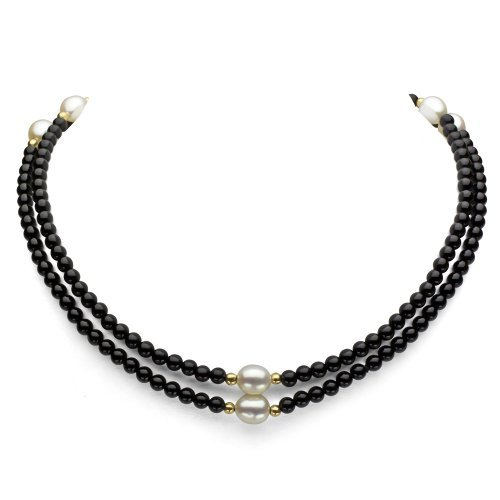 Souk Black South Sea Shell and White Freshwater Pearls Necklace for Women