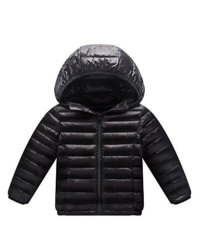 Giacche piumino con cappuccio classico ultra leggero del cappotto parka zipper invernale per unisex bambine e bambino nero 150