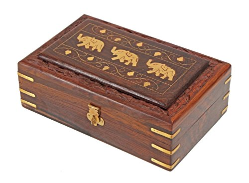 Indiabigshop Wooden Jewelry Box Brass Inlay Unique Elephant Design 8 X 5 Inches , Special Gift for Christmas or Birthday to Your Loved Ones