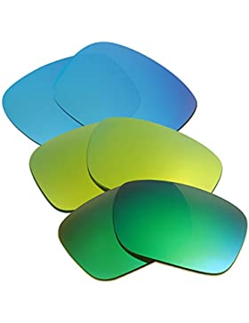 Hkuco Plus Mens Replacement Lenses For Oakley Holbrook Blue/24K Gold/Emerald Green Sunglasses