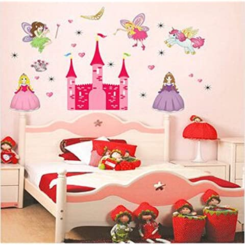 Clest F&H Wall stickers Angel princess castle Home Decor Mural Decal vinyl for kids rooms Free shipping 90cm*130cm by Clest F&H