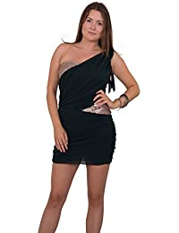 One-Shoulder-Minikleid Kleid partykleid Super Edel Kleid Chiffon Applikation Mit diesem Kleid stehen Sie im Mittlepunkt Robe Dress Gold Dunkel Grün
