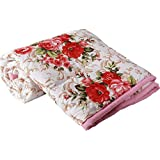 Hindustan Trading Cotton Gold Red Flowers Printed Dohar Double Bed Reversible Dohar (Red-Flower-D)