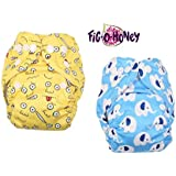 Fig-O-Honey Reusable New Born Baby Cloth Diapers   Multi-Color Baby Fabric Nappy With Free Absorbent Inserts   Washable And Elastic Printed Modern Cloth Nappies With Insert Liners   ( Emoji & Elephant Print Combo )