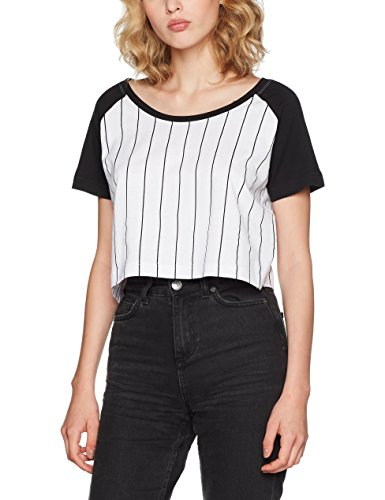 Urban Classics Damen T-Shirt Ladies Cropped Baseball Tee, Mehrfarbig (White/Black 224), X-Large (Baumwoll-baseball-tee)