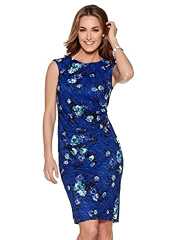 M&Co Ladies Sleeveless Round Neck Flattering Ruched Lace Floral Print Shift Pencil Dress Cobalt 14