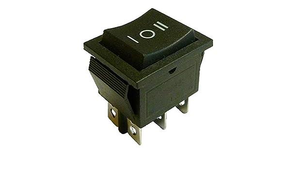 Momentaneo I-O Momentaneo O-II Chiavistello nero 6 pin DPDT On-Off-On interruttore a bilanciere a scatto 22 x 30 mm