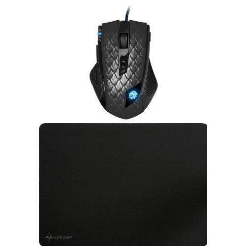 Preisvergleich Produktbild Set Sharkoon Drakonia Black Gaming Laser Maus 8200 dpi (11 Tasten) schwar Sharkoon 1337 Gaming Mauspad schwarz