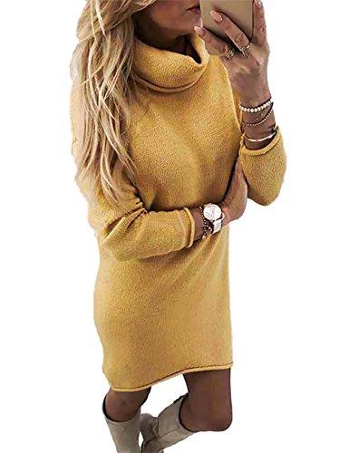 Boutiquefeel Damen Hoher Kragen Slim Fit Plain Sweater Kleid Gelb S (Slinky Schauen)