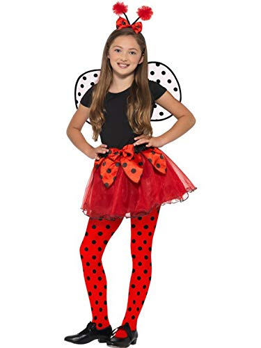Luxuspiraten - Mädchen Kinder Kostüm Marienkäfer mit Tütü Kleid Flügel und Kopfschmuck, Ladybird Tutu Dress Wings and Headband, perfekt für Karneval, Fasching und Fastnacht, 122-134, Rot