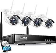 ZOSI Outdoor WiFi 1080P Bewakingssysteem 8CH NVR met 4 HD 1080P Draadloos Bewakingscamera Set met 1TB Harde Sc