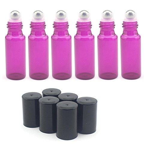 5ml Roller-Flaschen Glas–Set von 15mit mit Metall Ball für ätherisches Öl, Aromatherapie, Parfüm und Lippenbalsam, Violett Glas Roller Ball Metall