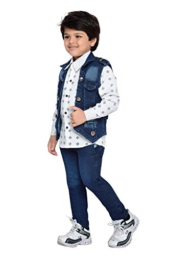 55197e05c Buy AJ Dezines Kids Party Wear Shirt Jeans and Jacket Clothing Set ...