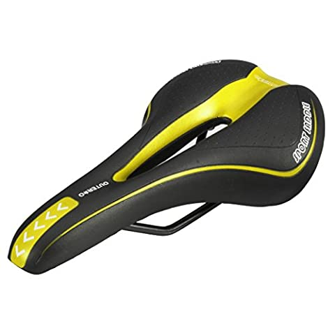 OUTERDO Bicycle Bike Saddle MTB Road Gel Comfort Saddle Cycling Seat Cushion Pad 27*15CM Black and Yellow