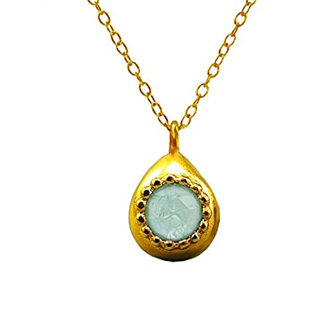 Necklace Pendant Gold Plated Sterling Silver Chain For women Aquamarine Teardrop Small Pendant Blue-Green Stone Handmade Jewellery Everyday Necklace Unique Gift For Women March Birthstone Jewellery
