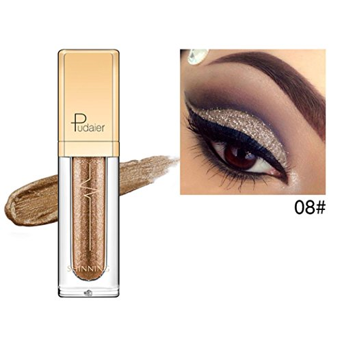 Metallischer glänzender rauchiger Augen-Augenschminke-wasserdichter Glitter-flüssiger Eyeliner (B) (Silber Metallisch Creme Make Up)