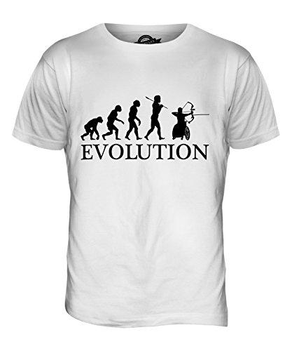 CandyMix Rollstuhl Bogenschießen Evolution Des Menschen Herren T Shirt Weiß