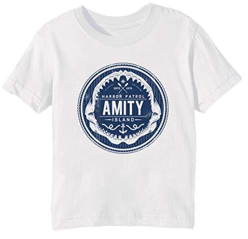Harbor Island (Amity Island Harbor Patrol - Jaws Kinder Unisex Jungen Mädchen T-Shirt Rundhals Weiß Kurzarm Größe S Kids Boys Girls White T-Shirt Small Size S)