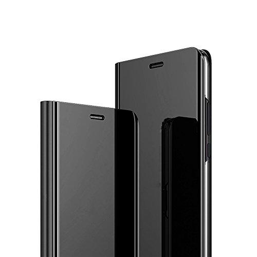 HuaXin Xiaomi Mi 5C Hülle,Flip Cover Lntelligentes und Klares Fenster Mit +Gehärtetes Glas Schutzfolie,Ultradünn Spiegel Telefongehäuse Standdesign Passend für Xiaomi Mi 5C Fall(Schwarz)