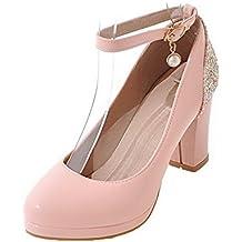 VogueZone009 Donna Fibbia Tacco Alto Luccichio Chiodato Ballet-Flats