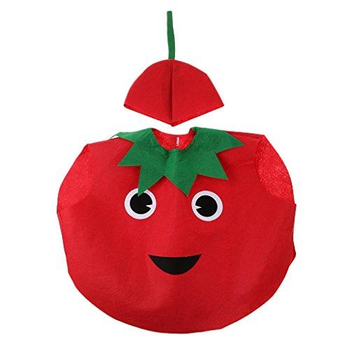 Traje Disfraz Tomate Vegetal Diseño de Cubierta Cuerpo Sombrero Vegetal Actuación Bosque Atuendo Niños