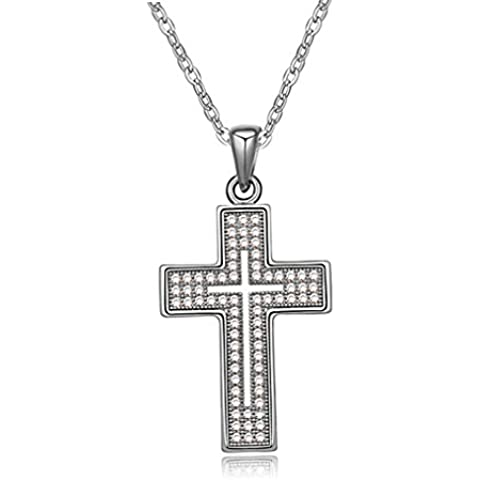 FLORAY Regalo di Natale per le donne, Croce Collana Pendenti, Trasparente Cristallo, Gioielli di moda