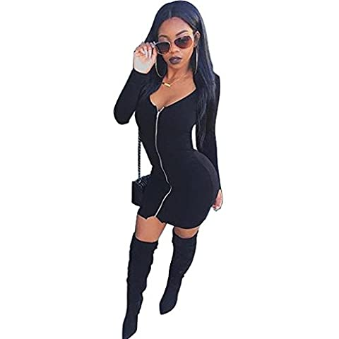 Byjia Womens Souhait Manches Longues Full Zip V Cou Mini-Robe Moulante Club Night Party Noir . Xl