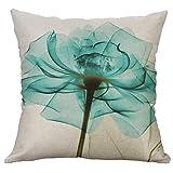 wuayi Baumwolle Leinen Quadratisch Dekorative Blumenmuster Überwurf Kissen Kissen Home Sofa Decor, Sehr Weicher Stoff, D:45x45cm, 45 x 45 cm