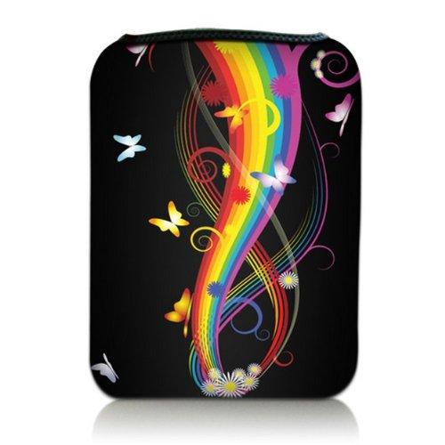 Luxburg® Design Tasche Hülle Sleeve für Kindle Paperwhite, Kindle Voyage 6 Zoll / Vision 3 HD / Vision2 / Vision 1 / Shine 2 HD, Pocketbook Touch Lux 3, Motiv: Schmetterlinge & Regenbogen
