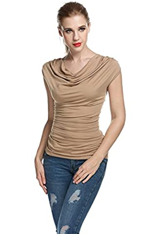 Womens Shirt Sleeveless Pleated Shallow V Collar for outdoor Summer red (L, Coffee)