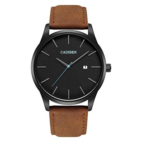 Cadisen Herren-Armbanduhr mit Lederarmband, lässiger Stil, Business-Stil, wasserfest, Datumsanzeige, modische Armbanduhr für Männer, braunes Armband, schwarzes Zifferblatt