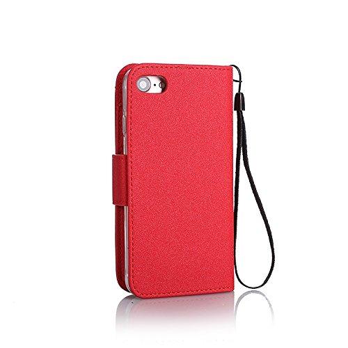 EKINHUI Case Cover Abnehmbare 2 in 1 Premium PU + TPU Ledertasche geprägt Blumen Stil Glitzer Sparkles Brieftasche Stand Case Cover mit Kreditkarte Slots & Lanyard & Magnetic Closure für iPhone 6 & 6s Red