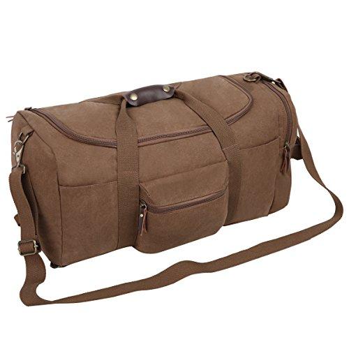 Eshow Herren Canvas Schulter Rucksack Umhaengetasche Backpack Sporttasche (S) Kaffee 2